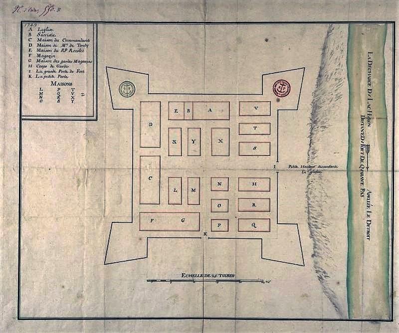 1702 Map of Detroit